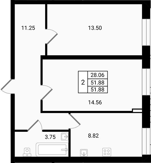 Планировка Двухкомнатная квартира площадью 51.88 кв.м в ЖК «Чистый ручей»