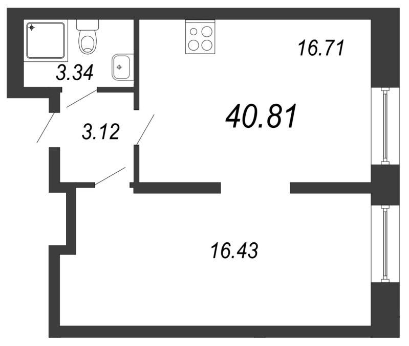 Планировка Двухкомнатная квартира (Евро) площадью 40.81 кв.м в ЖК «Чистый ручей»