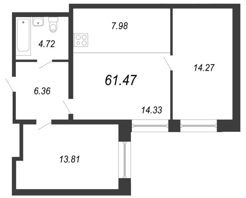 Планировка Трёхкомнатная квартира (Евро) площадью 61.47 кв.м в ЖК «Чистый ручей»