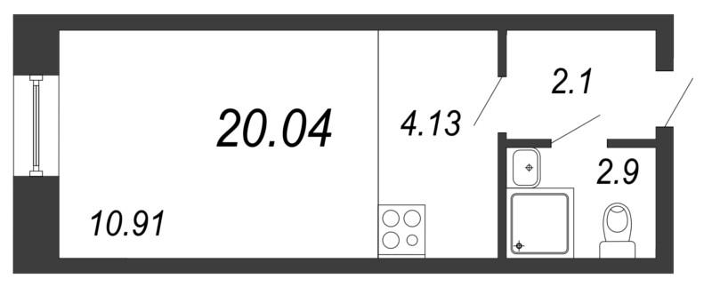 Планировка Студия площадью 20.04 кв.м в ЖК «Чистый ручей»