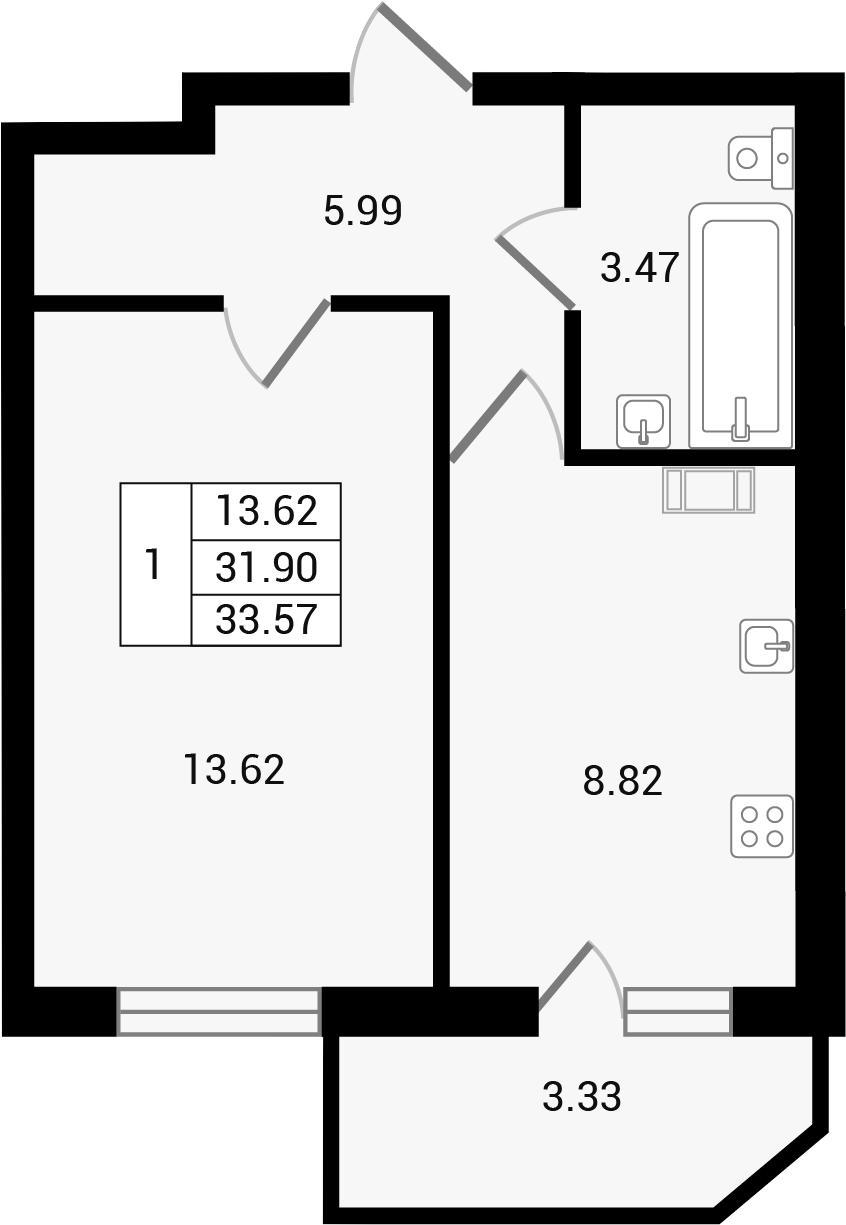 Планировка Однокомнатная квартира площадью 35.24 кв.м в ЖК «Чистый ручей»