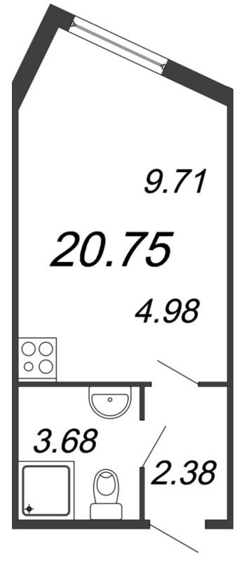 Планировка Студия площадью 20.75 кв.м в ЖК «Чистый ручей»