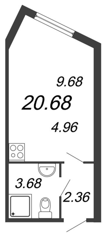 Планировка Студия площадью 20.68 кв.м в ЖК «Чистый ручей»
