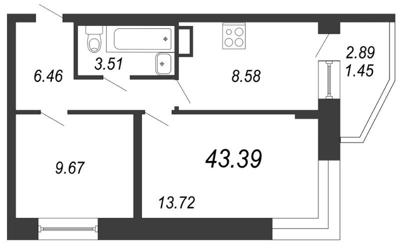 Планировка Двухкомнатная квартира площадью 43.39 кв.м в ЖК «Чистый ручей»
