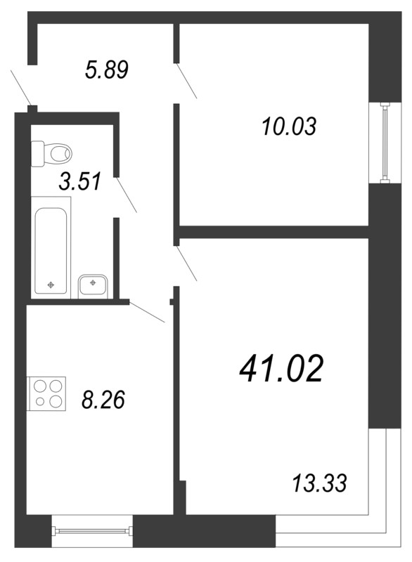 Планировка Двухкомнатная квартира площадью 41.02 кв.м в ЖК «Чистый ручей»