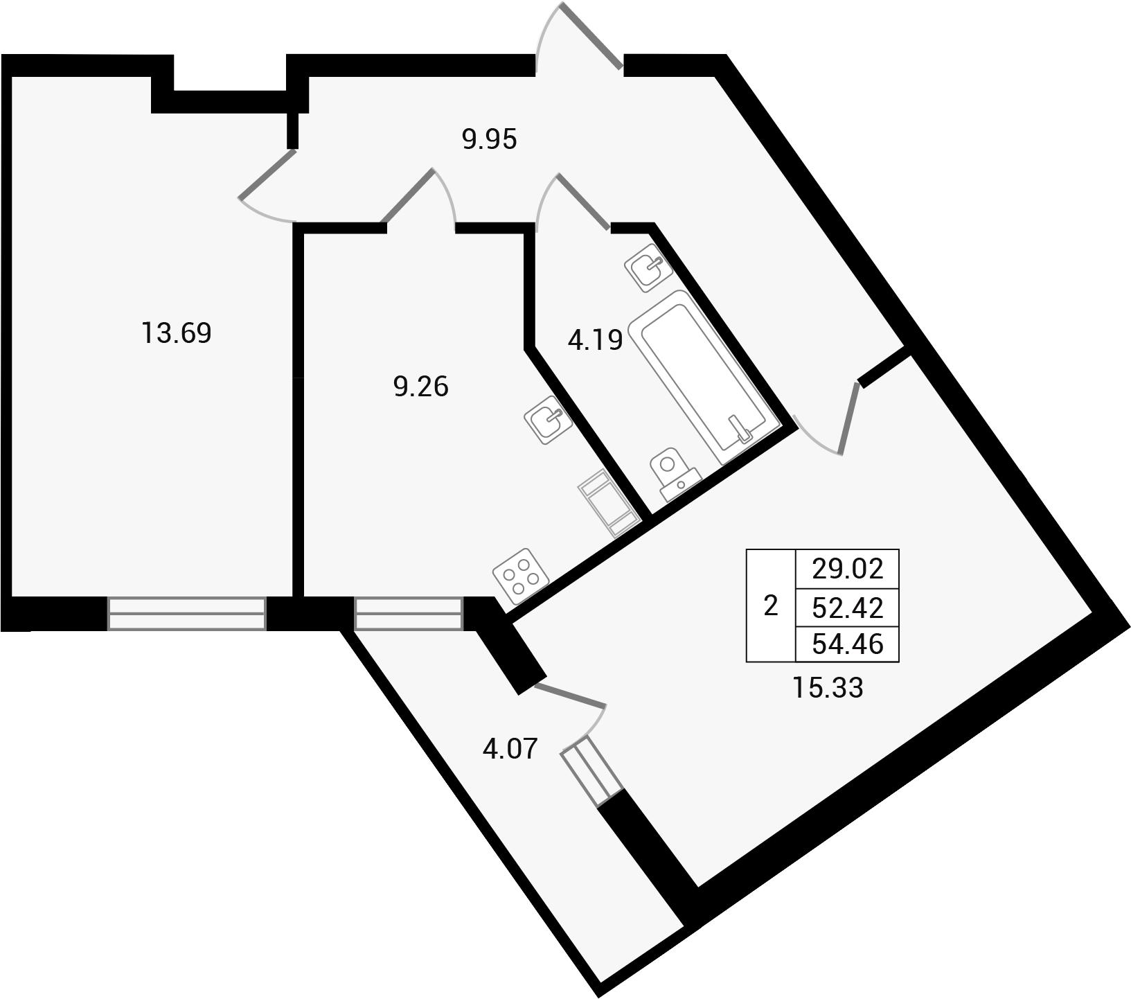 Планировка Двухкомнатная квартира площадью 56.5 кв.м в ЖК «Чистый ручей»