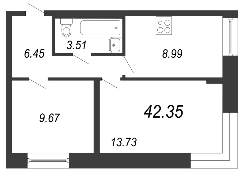Планировка Двухкомнатная квартира площадью 42.35 кв.м в ЖК «Чистый ручей»